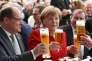 """La chancelière allemande  Angela Merkel lors de la celebration du cincentième anniversaire de la """"  loi sur la pureté de la bière allemande"""" à Ingolstadt le 22 avril2016"""