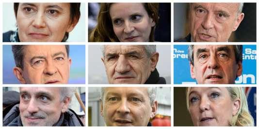 Neuf des candidats déclarés à la présidentielle et à la primaire.
