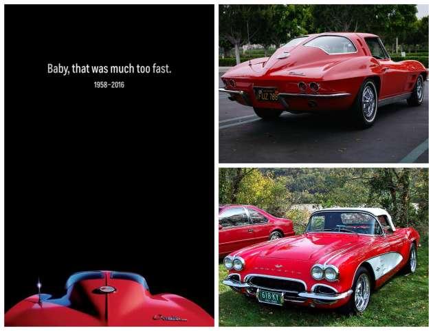 La publicité de Chevrolet en hommage à Prince (à gauche) et la Corvette en version Stingray (en haut à droite) et roadster.
