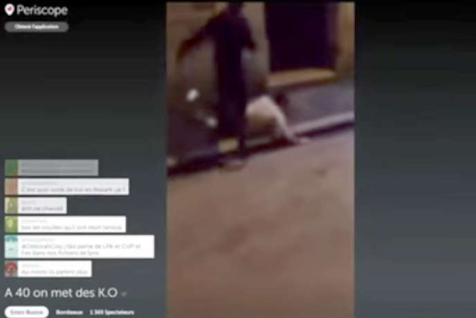 Extrait de la vidéo montrant l'agression préméditées diffusée en direct à Bordeaux le 22 avril 2016.