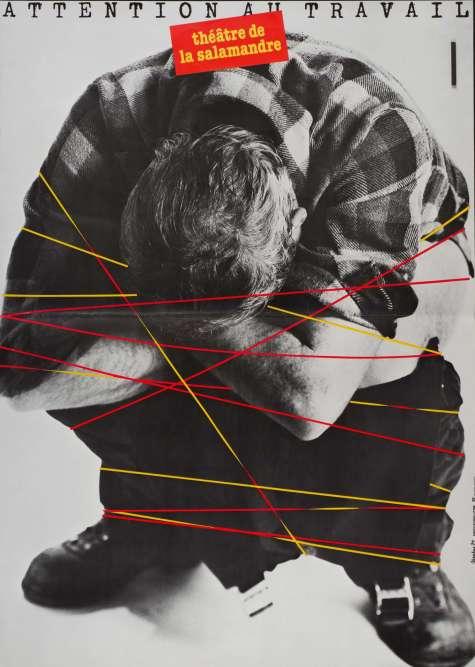 """""""Les structures culturelles sont de longue date des partenaires privilégiés pour les graphistes qui souhaitent donner à leur travail une dimension politique. La décentralisation théâtrale et la création des centres dramatiques nationaux offrent un cadre propice à la création d'affiches graphiques audacieuses et à l'institution de partenariats durables. Le théâtre de la Salamandre fait ainsi régulièrement appel à Grapus au tournant des années 1980""""."""