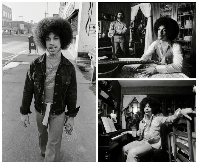 A gauche, Prince paradant aux abords de la Schmitt Music Company, une boutique d'instruments à Minneapolis. En bas à droite, dans la maison de son manager, Owen Husney, qui lancera sa carrière à l'aide de l'avocat Gary Levinson (en haut).