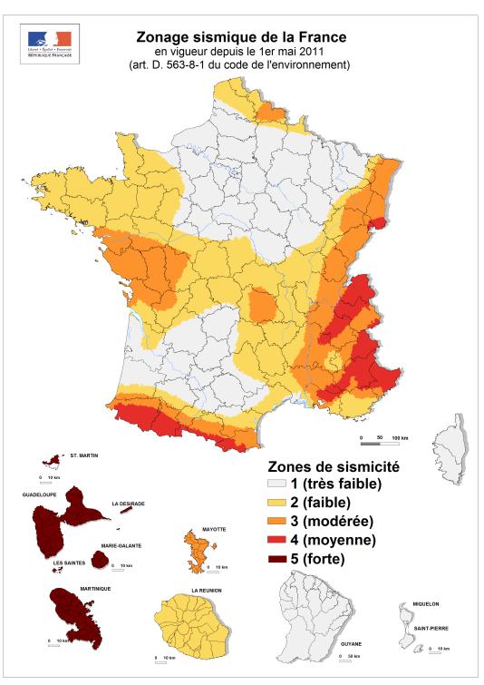 La carte des zones sismiques en France, entrée en vigueur en mai 2011.
