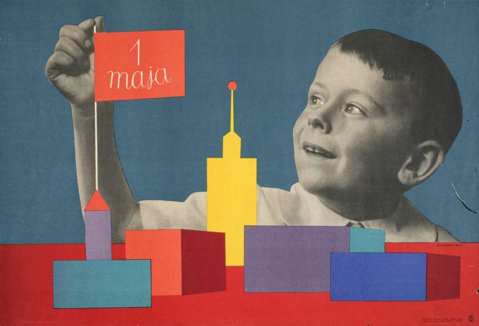 """""""Dans la Pologne communiste, les affiches de graphistes de renommée internationale scandent la vie politique et culturelle et donnent aux rues des allures de galerie. Le 1er mai, qui est alors un rendez-vous politique et social majeur, prend chez Roman Cieslewicz le caractère ludique d'un jeu de construction entre les mains d'un enfant""""."""