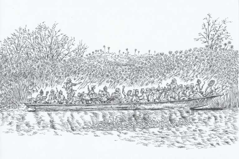 Dessin de Christian Seignobos, 2015, de militants de Boko Haram à bord d'une pirogue sur le lac Tchad.