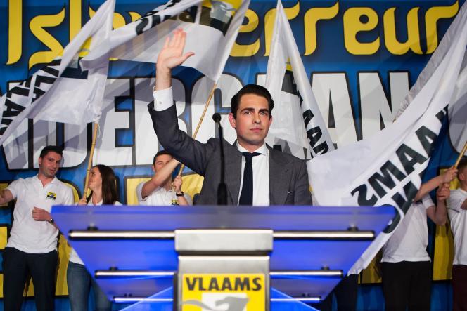 Tom Van Grieken, président du parti nationaliste Vlaams Belang, le 30 avril 2016 à Antwerp (Belgique).
