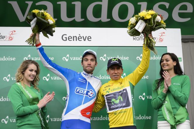 Nairo Quintana et Thibaut Pinot sur le podium du Tour de Romandie le 1er mai.