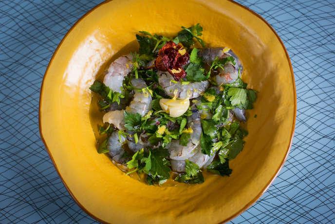 Les crevettes marinées à l'huile d'olive de Cédric Casanova.