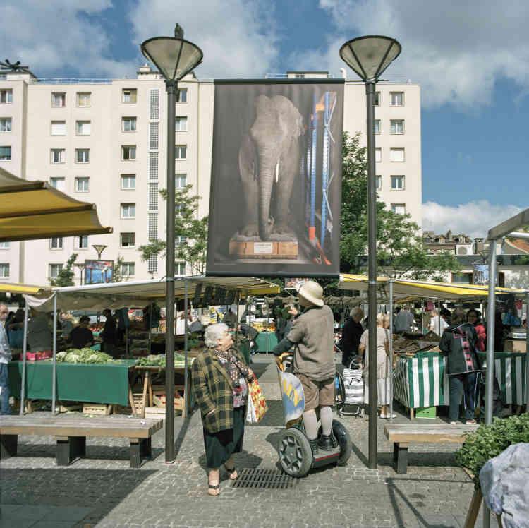 Au Bourget (Seine-Saint-Denis), marché et exposition « Safari Urbain ».