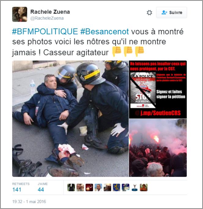 Photo d'un policier blessé en 2010, partagée à tort dans le contexte du 1er mai 2016.