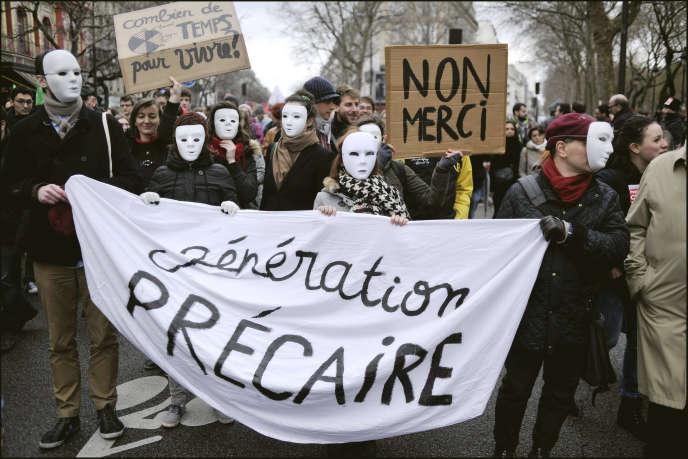 Manifestation contre le projet de loi El Khomri, à Paris, le 9 mars.