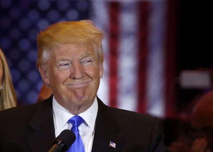 Donald Trump après l'annonce de l'abandon de son « challenger » Ted Cruz, le 3 mai 2016.