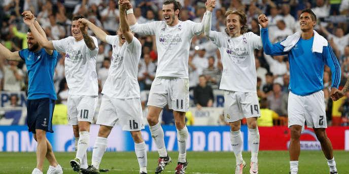 Les joueurs du Real Madrid célèbrent leur qualification pour la finale de la Ligue des champions, le 4mai.