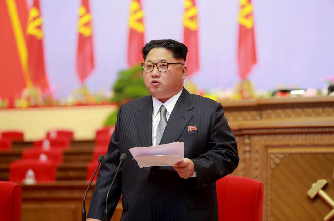 Kim Jong-un, lors de son discours inaugural au congrès du Parti du travail, le 7mai.