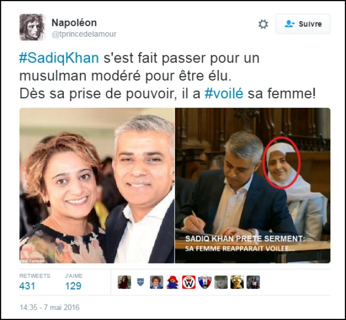Des internautes affirment, à tort, que la femme de Sadiq Khan était voilée lorsqu'il a prêté serment.