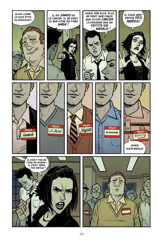 Dans Fight Club 2, le héros a épousé l'hypocondriaqueMarla Singer qu'il avait rencontré dans des groupes de soutien pour malades.