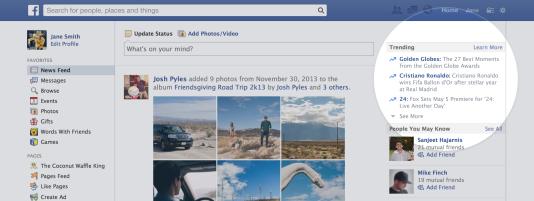 Les «trending topics» de Facebook.