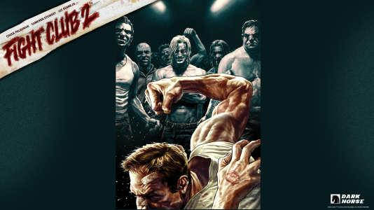 Affiche promotionnelle de Fight club 2 avec en haut au centre Tyler Durden, personnalité subversive du héros.