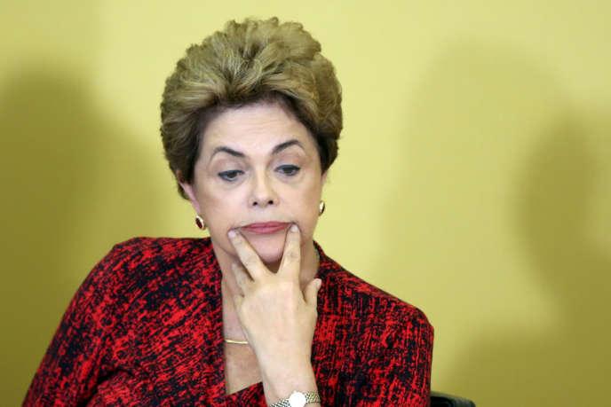 La présidente du Brésil, Dilma Rousseff, à Brasilia le 9 mai 2016.