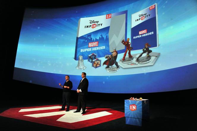 Présentation de la gamme « Disney Infinity » Marvel, en juin2014.