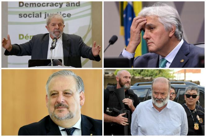 De haut en bas et de gauche à droite : Lula da Silva,Delcidio do Amaral, Ricardo Berzoini etJoao Vaccari.