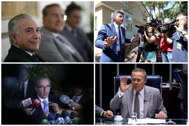 De haut en bas et de gauche à droite : Michel Temer, Romero Juca, Eduardo Cunha et Renan Calheiros.