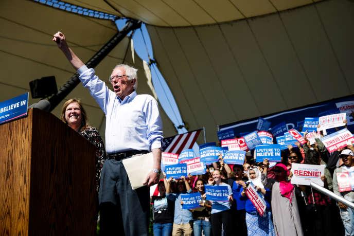 Le candidat à l'investiture démocrate Bernie Sanders, lors d'un meeting àStockton, en Californie, le 10 mai.