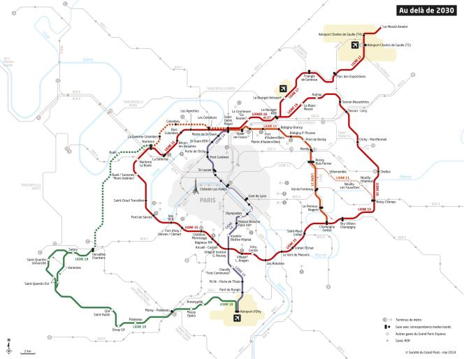 Le Grand Paris express avec le projetdeliaison Champigny/Val-de-Fontenay (en jaune)