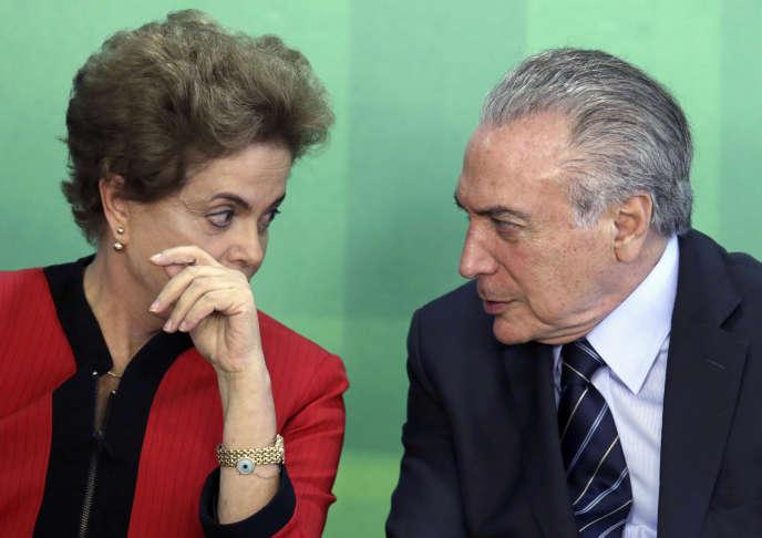 Dilma Rousseff et Michel Temer en mars 2016 au palais du Planalto.