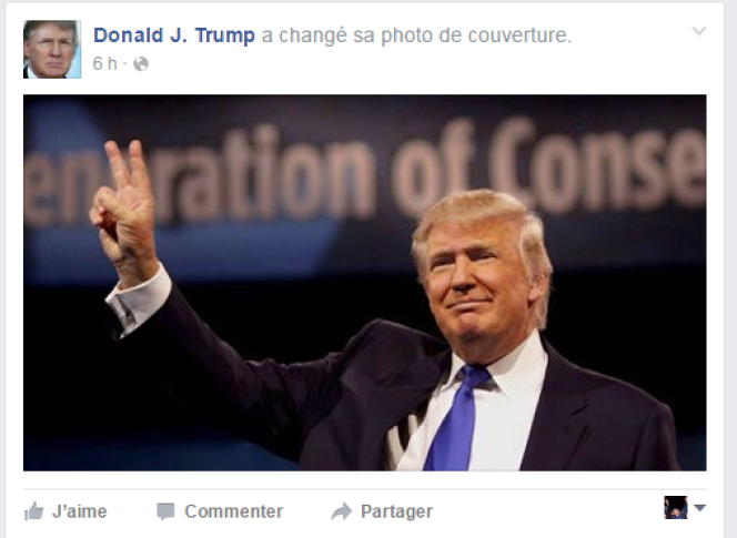 La page Facebook de Donald Trump.