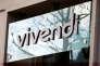 Logo de Vivendi au siège social du groupe français, le 10 mars 2016.