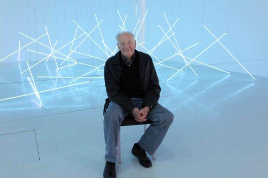 Francois Morellet, en 2011, lors de la rétrospective qui lui était consacrée au Centre Pompidou.
