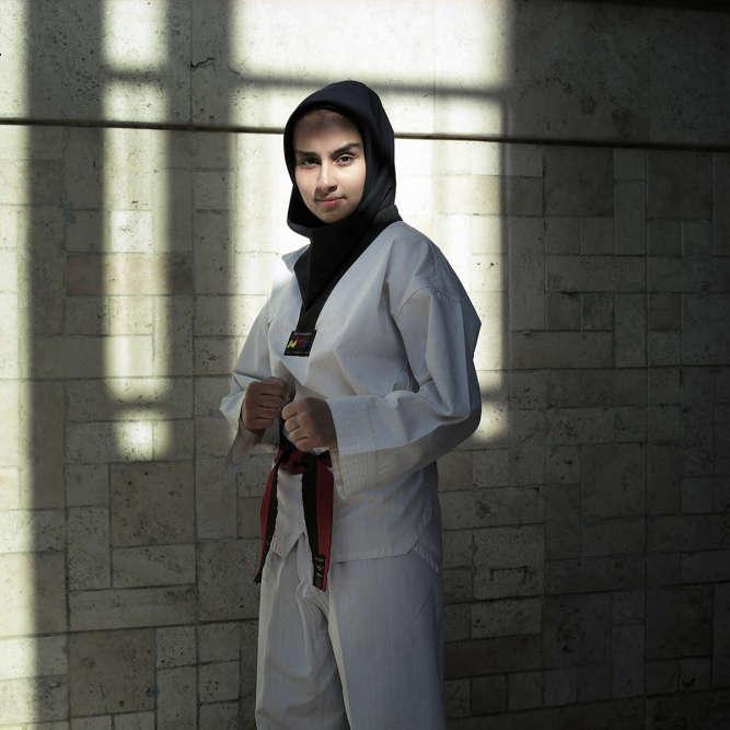 Zahra Mahda, 16 ans, Iranienne chiite, en juillet 2013. Elle fait du taekwondo depuis l'âge de 9 ans. Ce qu'elle souhaite : « Intégrer l'équipe nationale iranienne de taekwondo. »