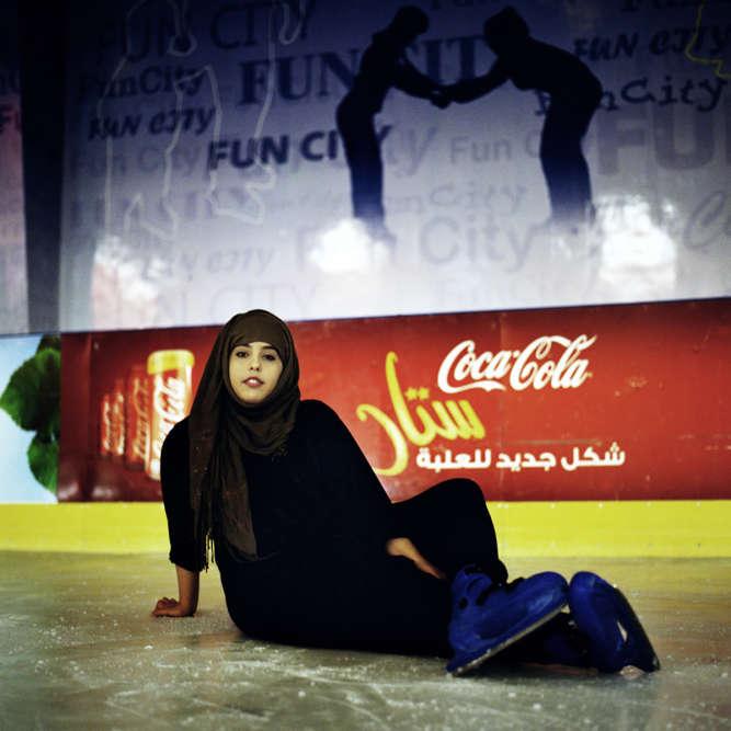 Fatoom Gabran, 20 ans, Yéménite sunnite, en décembre 2013. Elle allait patiner tous les jours à Fun City, un parc d'attractions de Sanaa. Des avions saoudiens ont bombardé ce lieu en février. Ce qu'elle souhaite : « Devenir avocate. »