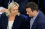 Marine Le Pen et Florian Philippot, au Parlement européen, à Strasbourg, le 10 mai.