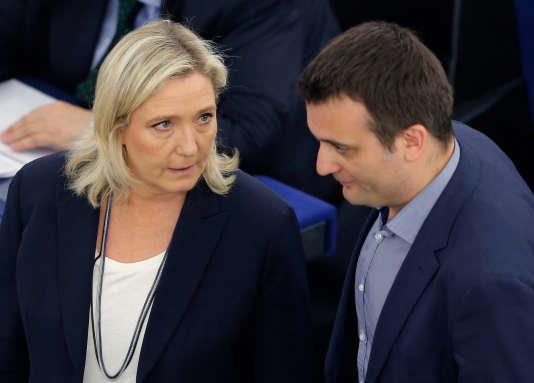 Marine Le Pen et Florian Philippot, présidente et vice-président respectifs du Front national, le 10 mai 2016, au Parlement européen, à Strasbourg.