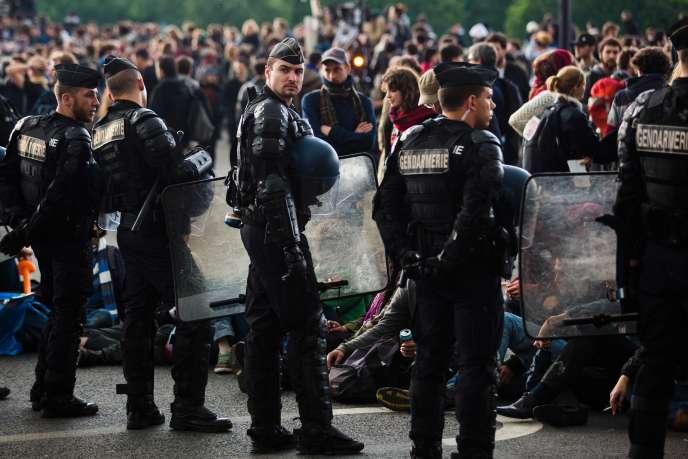 Manifestation contre la réforme du code du travail, devant l'Assemblée nationale, à Paris,le 12mai.