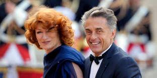 Gérard Holtz avec son épouse Muriel Mayette, à l'Elysée, en mai 2015.