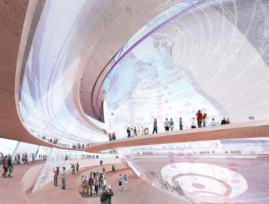 """Le """"globe"""", projet de Jean-Christophe Fromantin (LR) pour l'Exposition universelle 2025. Un « village global » construit autour d'un « globe connecté qui accueillerait de façon équitable tous les pays », en Ile-de-France."""