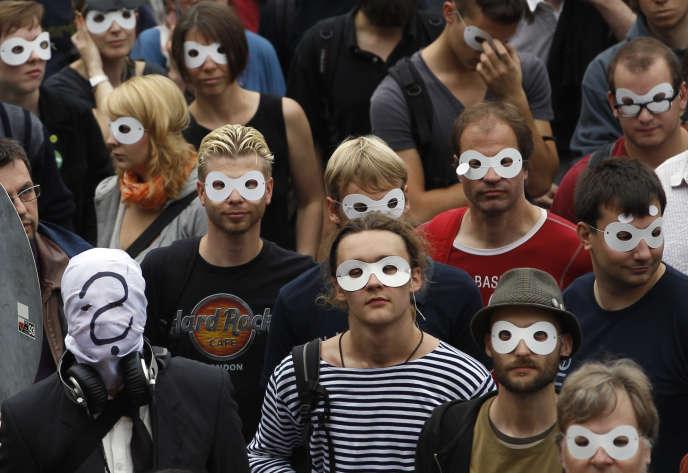 Rassemblement pour la protection des donées privées à berlin en septembre 2011.