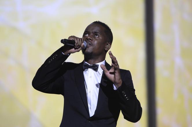 Black M, le 13 février 2015 aux Victoires de la musique.