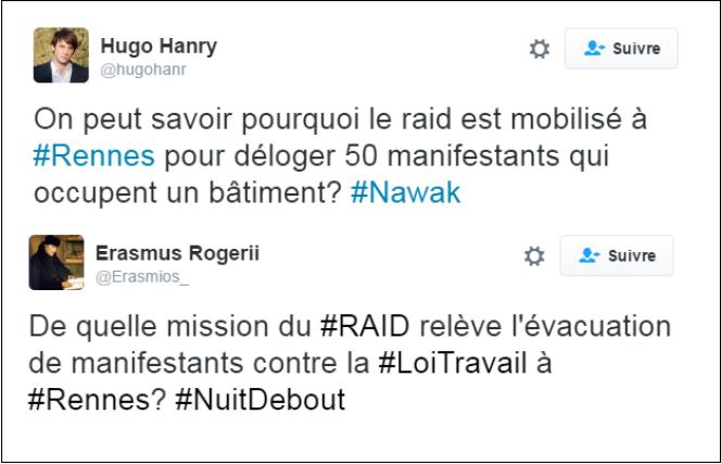 Des internautes critiquent la présence du Raid à Rennes vendredi 13 mai pour déloger les occupants d'une salle municipale.