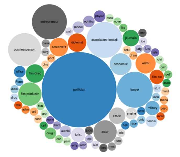 Infographie censée montrer la répartition des personnalités citées dans les «Panama papers» par profession.