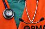 Le stétoscope d'un docteur le 26 avril en Angleterre.