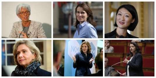 De gauche à droite et de haut en bas, Christine Lagarde, Aurélie Filippetti, Fleur Pellerin, Valérie Pécresse, Nathalie Kosciusko-Morizetet Cécile Duflot.