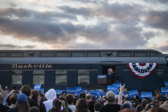 Bernie Sanders en campagne à Bowling Green, dans le Kentucky, le 14 mai.