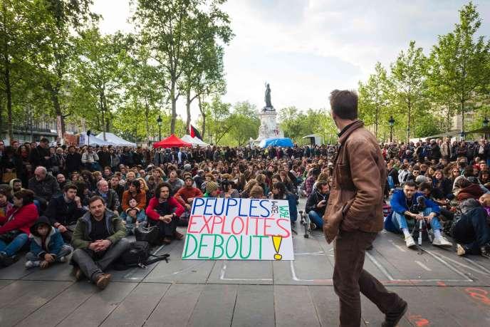 A l'assemblée générale de Nuit debout, le 15 mai 2016 sur la place de la République à Paris.