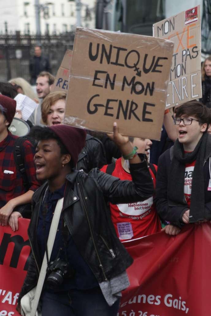 La 19e Existrans, une manifestation pour soutenir les transgenres et protester contre les discriminations, à Paris, le 17 octobre 2015.