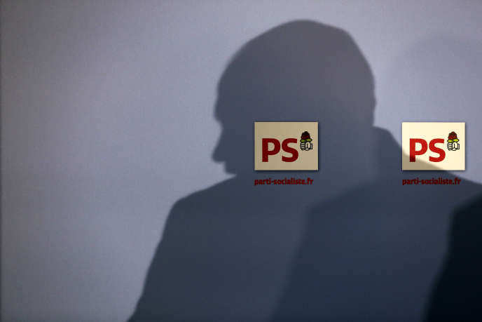 Conférence de presse au siège du Parti Socialiste à Paris en 2014.
