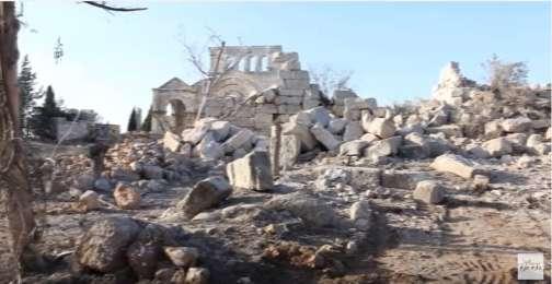 Capture d'écran d'une vidéo diffusée le samedi 14 mai par desmédias proches de l'opposition syrienne et montrant l'église de Saint-Siméon-le-Stylite.